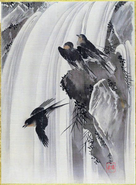 Wall Art - Painting - Swallows By A Waterfall - Digital Remastered Edition by Kawanabe Kyosai