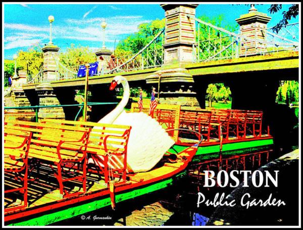 Swan Boats Digital Art - Swan Boat Boston Public Garden by A Gurmankin
