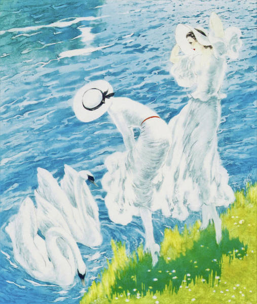 Wall Art - Painting - Swan - Digital Remastered Edition by Louis Icart
