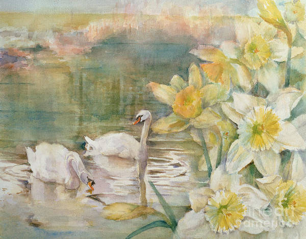 Hurst Wall Art - Painting - Swans At Hurst by Karen Armitage