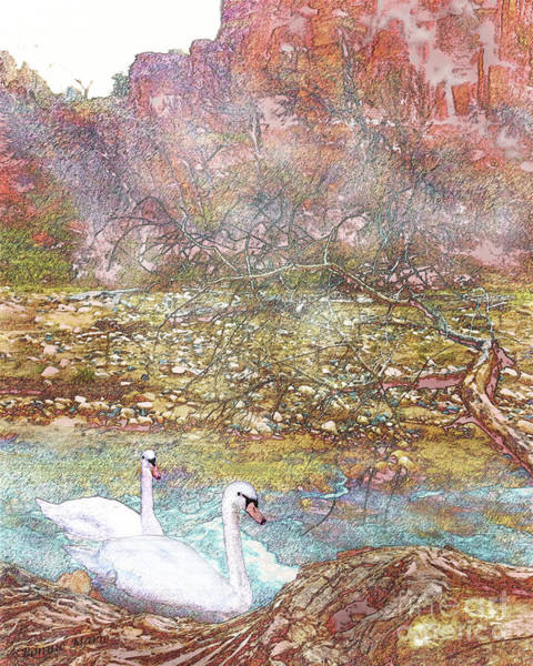 Zion Mixed Media - Swans In A Mist In Spring by Bonnie Marie