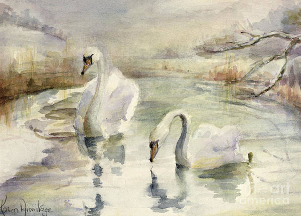 Wall Art - Painting - Swans In Winter by Karen Armitage