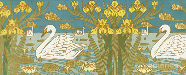 Painting - Swans, Iris And Waterlillies by Maurice Pillard Verneuil