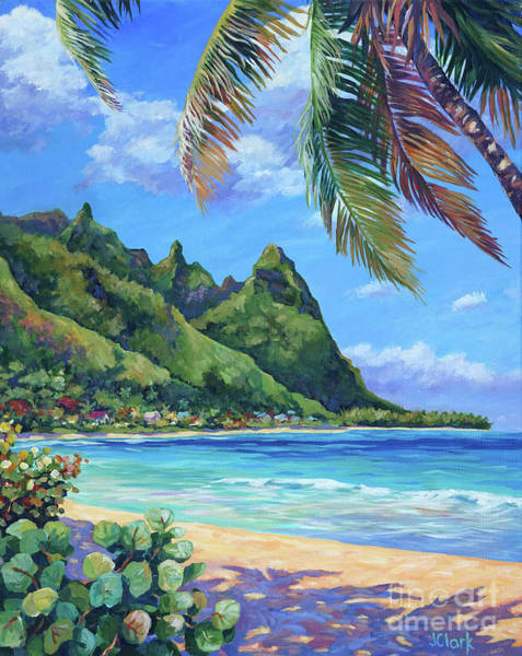 Tunnel Painting - Swaying Palm On Makua Beach by John Clark