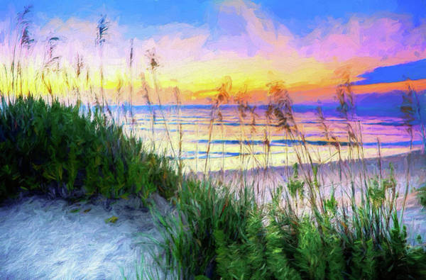 Wall Art - Painting - Swaying Sea Oats On The Outer Banks Ap by Dan Carmichael