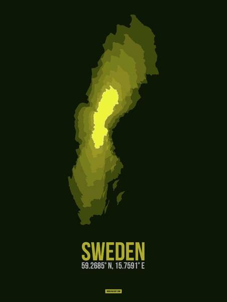 Wall Art - Digital Art - Sweden Radiant Map IIi by Naxart Studio
