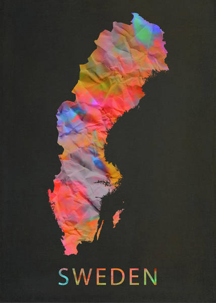 Wall Art - Mixed Media - Sweden Tie Dye Country Map by Design Turnpike