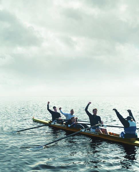Rowing Wall Art - Photograph - Sweep Rowing Crew, Arms Raised by Gandee Vasan