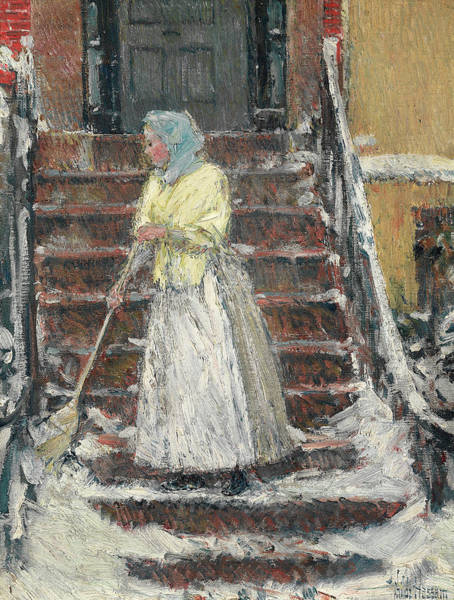 Wall Art - Painting - Sweeping Snow, 1890 by Childe Hassam