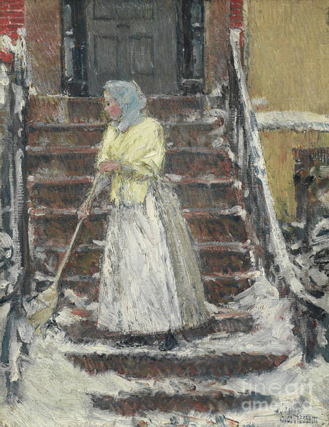 Wall Art - Painting - Sweeping Snow by Childe Hassam