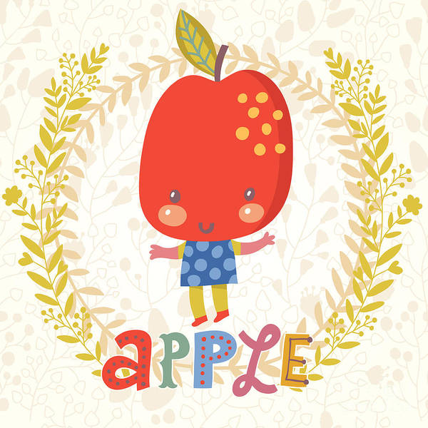 Organic Garden Wall Art - Digital Art - Sweet Apple In Funny Cartoon Style by Smilewithjul