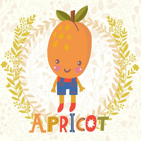 Organic Garden Wall Art - Digital Art - Sweet Apricot In Funny Cartoon Style by Smilewithjul