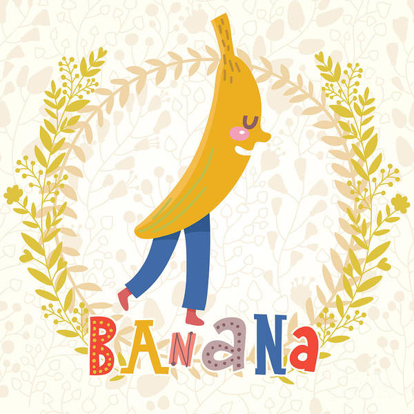 Organic Garden Wall Art - Digital Art - Sweet Banana In Funny Cartoon Style by Smilewithjul