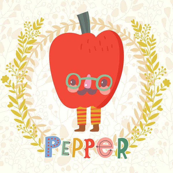 Weights Wall Art - Digital Art - Sweet Bell Pepper In Funny Cartoon by Smilewithjul