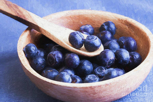 Wooden Spoon Digital Art - Sweet Blueberries 2 by Elisabeth Lucas