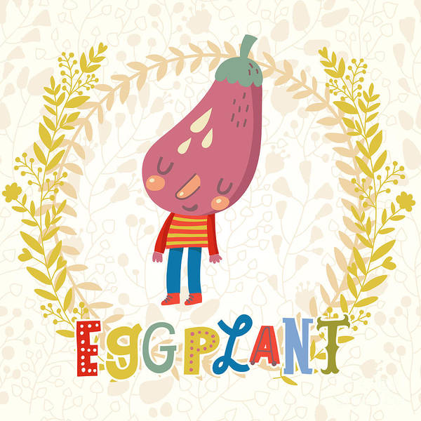 Organic Garden Wall Art - Digital Art - Sweet Eggplant In Funny Cartoon Style by Smilewithjul