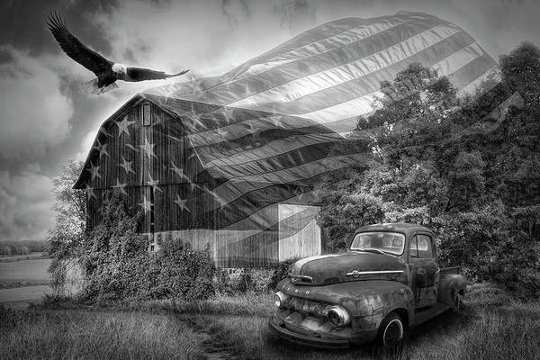 Wall Art - Digital Art - Sweet Land Of Liberty Black And White  by Debra and Dave Vanderlaan