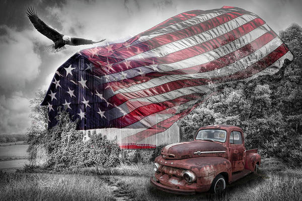 Wall Art - Photograph - Sweet Land Of Liberty Color Selected Red, Blue, White And Black by Debra and Dave Vanderlaan