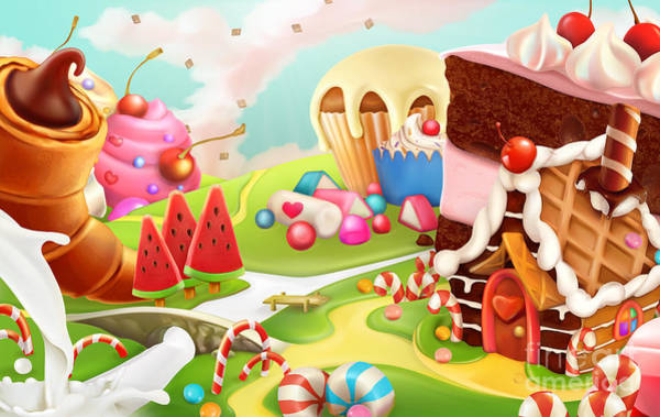 Cookie Wall Art - Digital Art - Sweet Landscape, Vector Background by Natykach Nataliia