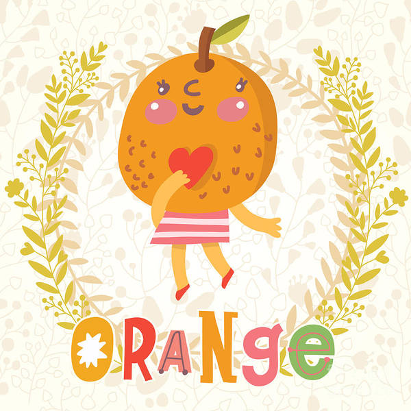 Sweet Orange In Funny Cartoon Style Art Print