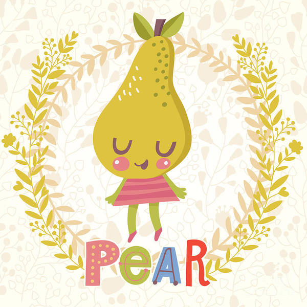 Organic Garden Wall Art - Digital Art - Sweet Pear In Funny Cartoon Style by Smilewithjul