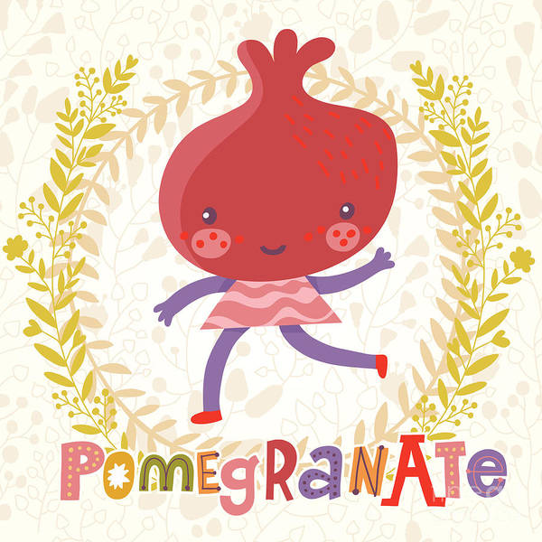 Organic Garden Wall Art - Digital Art - Sweet Pomegranate In Funny Cartoon by Smilewithjul
