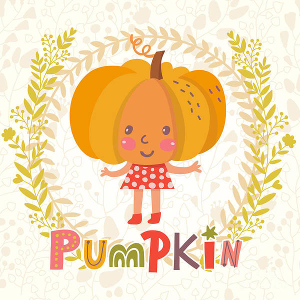 Organic Garden Wall Art - Digital Art - Sweet Pumpkin In Funny Cartoon Style by Smilewithjul