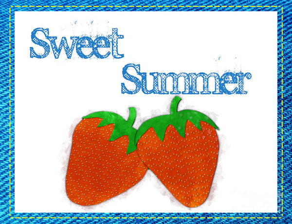 Photograph - Sweet Summer - Strawberries Watercolor by Colleen Cornelius