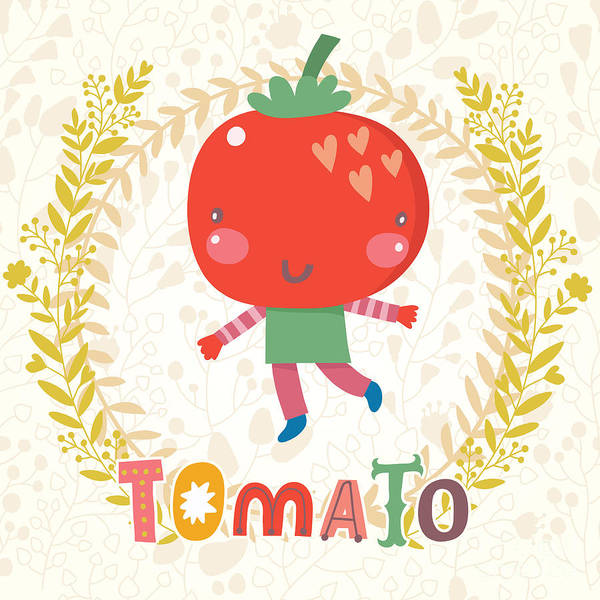 Organic Garden Wall Art - Digital Art - Sweet Tomato In Funny Cartoon Style by Smilewithjul