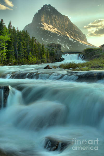 Photograph - Swiftcurrent Falls Spring Sunset by Adam Jewell