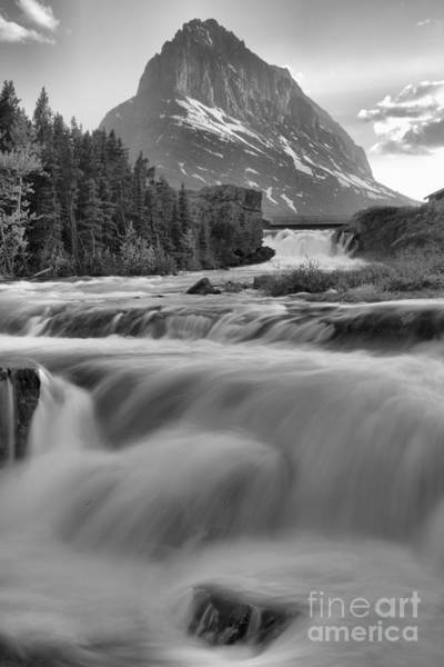 Photograph - Swiftcurrent Falls Spring Sunset Black And White by Adam Jewell