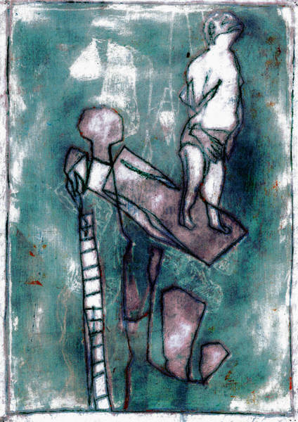 Painting - Swimmer On A Diving Board by Artist Dot