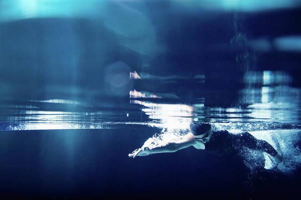 Underwater Photograph - Swimmer Underwater Swimming Freestyle by Stanislaw Pytel