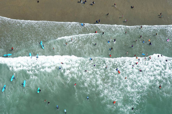 Jason Day Photograph - Swimmers And Surfers On Beach, Aerial by Jason Hawkes