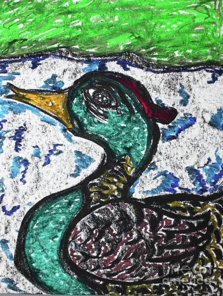 Pastel - Swimming Duck by Odalo Wasikhongo