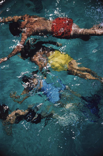 Water Photograph - Swimming In The Bahamas by Slim Aarons