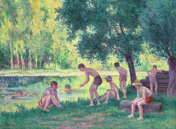 Sunbather Wall Art - Painting - Swimming In The City by Maximilien Luce