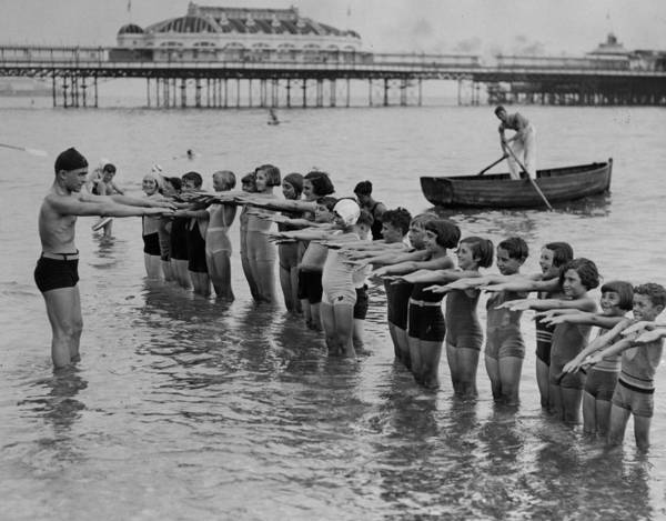 Palace Pier Wall Art - Photograph - Swimming Lessons by Reg Speller