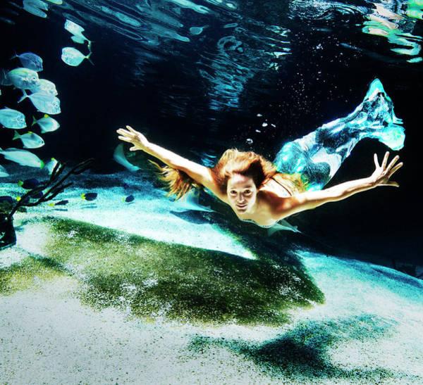 Underwater Camera Photograph - Swimming Mermaid Underwater by Henrik Sorensen