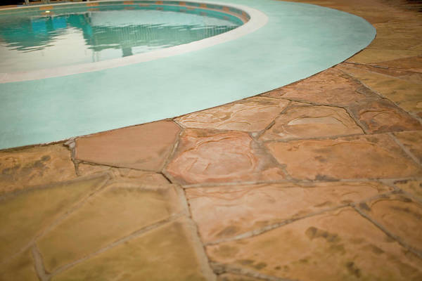 Patio Photograph - Swimming Pool And Stone Patio, Elevated by Lm Photo