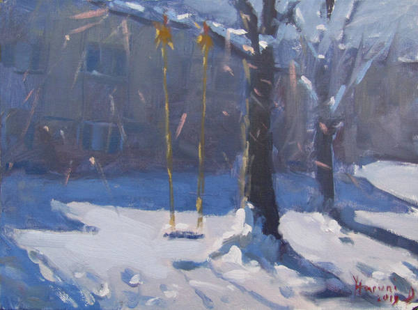Wall Art - Painting - Swing And Snow by Ylli Haruni
