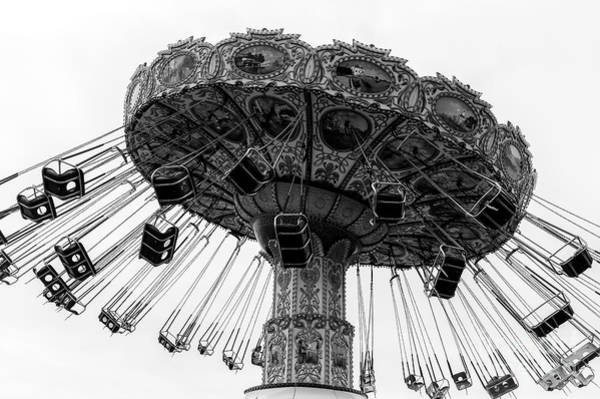 Swinging At Seaside Heights Monochrome Art Print