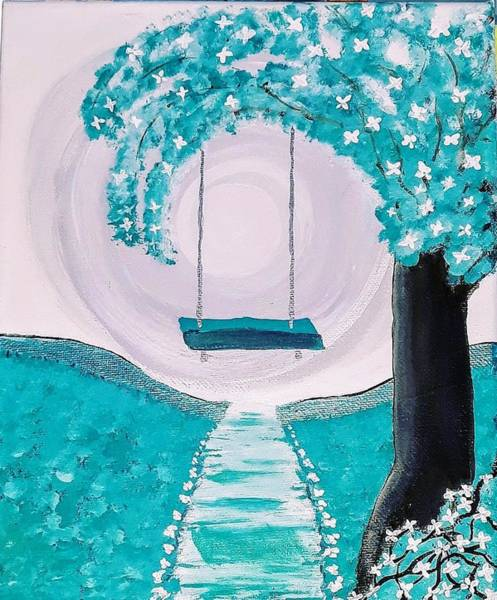 Wall Art - Painting - Swinging On A Teal Spring Day by Sheri Goodyear