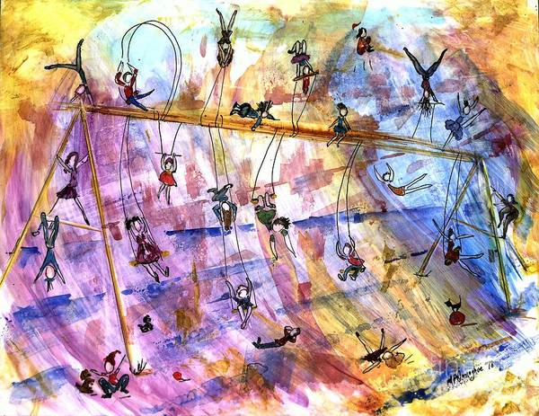 Trapeze Painting - Swingset Whimsy by Patty Donoghue