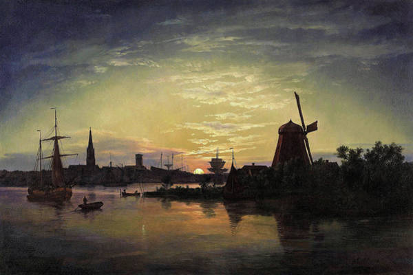 Wall Art - Painting - Swinoujscie In The Moonlight - Digital Remastered Edition by Johan Christian Dahl