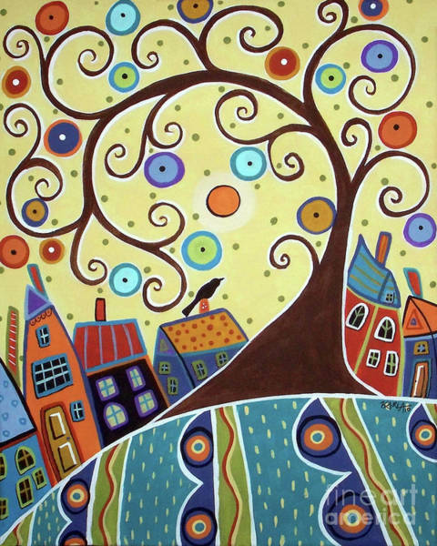 Wall Art - Painting - Swirl Tree Town by Karla Gerard