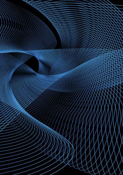 Wire Digital Art - Swirling Blue Lines by David Angel