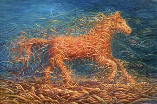 Hans Droog Wall Art - Painting - Swirly Horse 1 by Hans Droog