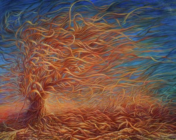 Hans Droog Wall Art - Painting - Swirly Tree 2 by Hans Droog