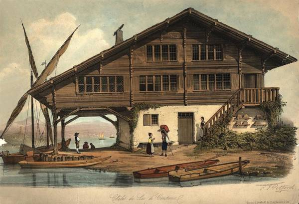 Chalet Digital Art - Swiss Chalet by Hulton Archive